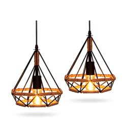 Iluminación colgante lámpara cañamo de techo vintage para Loft luz E27 25 cm 2 piezas Xindaxin®